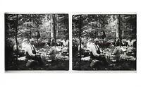 Francia Famille snapshot Amateur Foto Stereo L7n3 Vintage Placca Da Lente