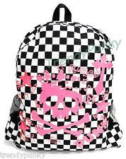 Checker Backpack School Bag Skull Handbag Book Travel Camp Sack Beach Gym White