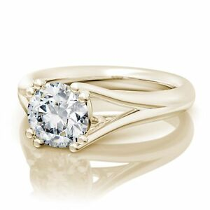2CT Split Shank Round Diamond Solitaire Engagement Ring 9K Yellow Gold Over