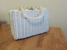 Vintage 1960's  N/NT White Painted  Straw or Wicker Purse  Faux Pearl Handle
