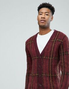 New Mens Ex ASOS Fluffy Oversized Cardigan In Burgundy Check Size XS-XXL RRP £35