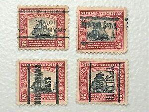 Scott # 620 2c Norse-American 1925 issue Used Lot of 4 precancels