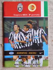 Juventus - Ascoli 3° giornata  2005 match program / programma partita