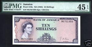 JAMAICA 10 SHILLINGS P51 Be 1964 PMG QUEEN BANANA BOAT CARIBBEAN MONEY BANKNOTE