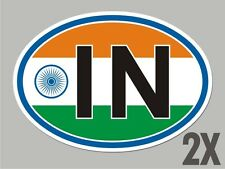 2 India IN OVAL window code stickers flag decal bumper car vinyl sticker CL025