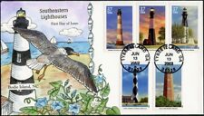"""#3787-3791""""SOUTHERN LIGHTHOUSES"""" FDC CACHET HAND PAINTED BY COLLINS BP7296"""