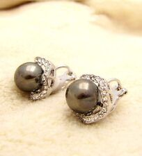 18K White Gold Plated Crystal Element Gray Shell Pearl 10MM Earrings Clip