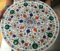 15'' White Marble Round Mosaic Table Real Hakik Malachite Floral Art Inlay Decor