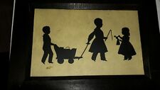 Silhouette   children with wagon