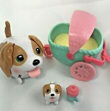 King Charles Spaniel Chubby Puppies Mom/Dad, Puppy, Stroller and Bottle Lot Of 4