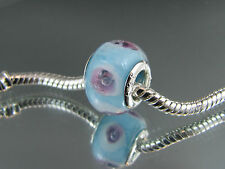 925 SILVER STAMPED MURANO GLASS BEAD FOR EUROPEAN STYLE CHARM BRACELETS #DC 212