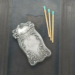 Antique Gorham Floral Sterling Silver Match Safe Vesta Case TLC