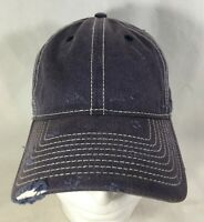 Baseball Hat Cap Blue White Adjustable Distressed