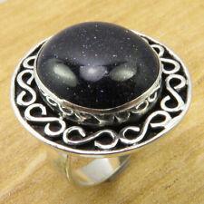 Blue Goldstone Beautiful Gemset ! 925 Silver Overlay TIBETAN Ring Size 6.25 NEW