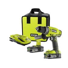 Ryobi Hammer Drill Driver w Batteries Charger Bag Li-Ion Cordless 18Volt 1/2 in.