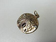 "Fine Vintage 14K Yellow Gold Sand Dollar Charm Pendant 9/16"""