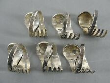 NAPKIN RING HOLDER ROLLED FORK w/SPOON END SET LOT 6 SILVERPLATED SILVER PLATE