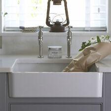 Small Farmhouse Gloss White Single Bowl Ceramic Belfast Butler Kitchen Sink