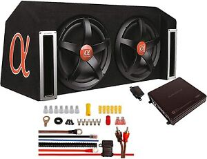 "ALPHASONIK APP122 Complete 1500W Dual 12"" Subwoofers Amplifier Car Bass Package"