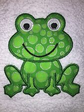 Embroidered White Bathroom Hand Towel- Appliqued Spotted Frog HS0495