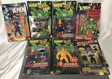 Vintage X-Men Incredible Hulk Spiderman Action Figures Lot Chainsaw Zzzax Rogue