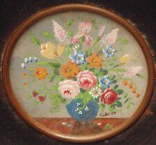rare magnifique ancienne miniature nature morte fleurs signé claude date 1753