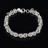 925 Silver Plated Women Twisted Rope Bangle Bracelet Anklet Pulsera Jewelry Gift