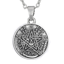 Talisman Small TETRAGRAMMATON Necklace Amulet Kabbalah Chain Antique Silver