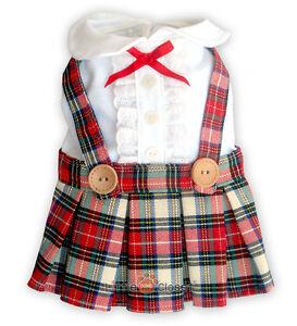 Dog Clothes Pet Dress Cat Blouse Shirt Skirt CUTE GIRL SCHOOL UNIFORM Sz.00-6