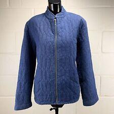 Denim Software Quilted Womens Sz 10 Blue Zip up Denim Shirt Jacket Lined