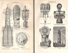 Leuchtturm Leuchttürme Leuchtfeuer Helgoland Drehfeuer HOLZSTICH 1906