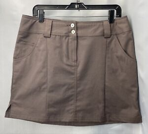 ADIDAS Sz 10 Womens CLIMACOOL Athletic GOLF Skirt With Pockets Brown EUC