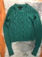Marc Marc Jacobs Women's Merino Wool Kelly Green Cable Knit Sweater Sz XS SOFT