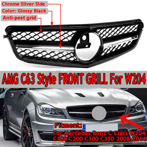 C63 AMG Style Front Grille For Mercedes Benz C Class W204 C180 C200 2008-2014