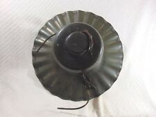 VINTAGE ANTIQUE INDUSTRIAL GREEN & WHITE RUFFLED PORCELAIN ENAMEL CEILING LIGHT