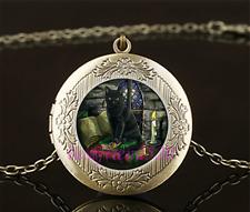 Wicca Black Cat Photo Cabochon Glass Brass Locket Pendant Necklace
