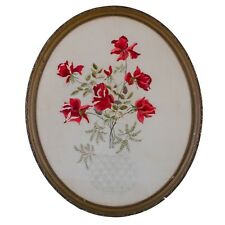 Victorian Silk Embroidery, Red Roses In Vase
