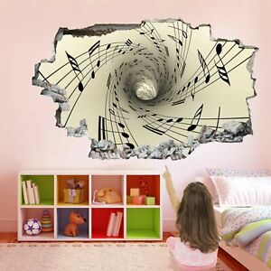Musical Notation Spiral Tunnel Note Wall Art Stickers Mural Decal Kids Room EB9
