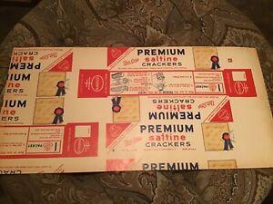 VINTAGE UNCUT NABISCO PREMIUM SALTINE BOX 1950'S CARDBOARD ADVERTISING