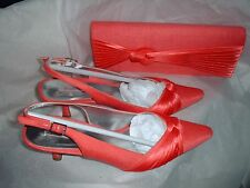 JACQUES VERT CORAL PINK PLEAT SHOES EU 38 UK 5 & MATCHING BAG