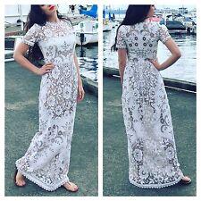 Wedding White two-tone Cut out Lace Maxi Boho Dress Sz S Dolce gabbana Stl.
