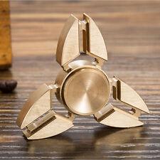 GOLD Tri Spinner Fidget Spinner Toy Stress Reducer Ceramic Bearing Focus ADHD
