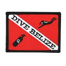 "Scuba Souvenir ""Dive Belize"" Travel Patch Vacation Destination Iron-On Applique"