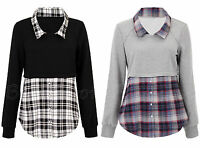 Womens Black and Grey Long Sleeve Check Shirt Top Sweatshirt Jumper Size 8 to 20