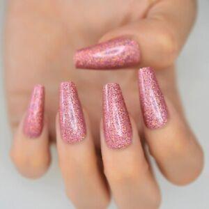 False nails UV Gel Pink Glitter Coffin 24pk +nail tabs by EchiQ