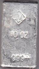Johnson Matthey 10 oz Hand Poured .999 Silver Loaf Bar Vintage JM Diamond Logo