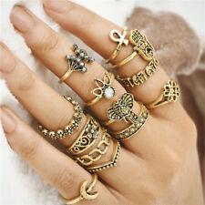 BOHO 13PC RING SET Bohemian Gypsy Ethnic Tribal Festival Jewellery Gift Gold