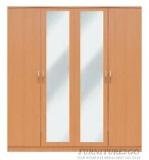 MILANO BEECH QUAD ROBE with MIRRORS READY ASSEMBLED BEDROOM FURNITURE