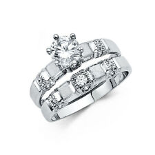 Milgrain His Hers Wedding Trio Set Ring 14k White Real Gold Cz Solitaire Round