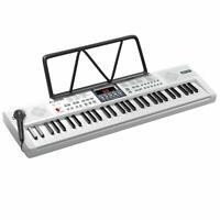 61Key Electric Keyboard Piano w/Inner Speaker LED Screen Microphone Sheet Stand